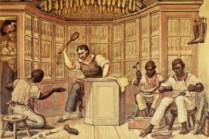 debret retratando o trabalho, como um tormento, que de fato o era. forçado, o escravo trabalha sob porrada.
