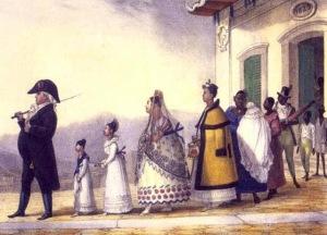 obeso e com pernas finas, o senhor de escravos passeia, no retrato de debret