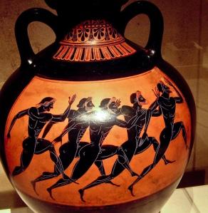 homens correndo. notem o desenho dos músculos. grécia, cerca de 300 a. C.