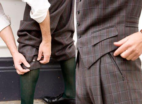 detalhe de calças em tweed para ciclistas, por davies & son. clique na imagem par air ao site desta alfaiataria
