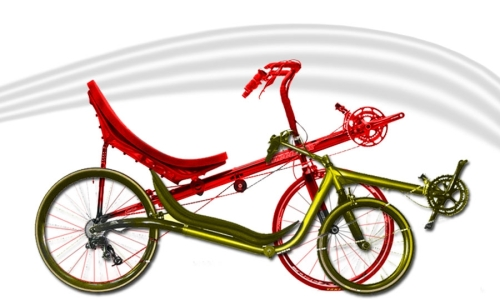 em vermelho, uma high racer, em verde, uma low racer. ambas tem a caixa do movimento central acima da altura do banco.