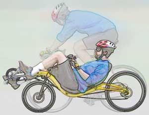 comparação entre posilçoes, bcicileta estradeira comum e reclinada low racer
