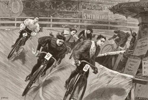 ilustração de corrida feminina em velódromo. nada de quadros step-through, nem de saias: elas estão usando bloomers, antecessoras das calças compridas.