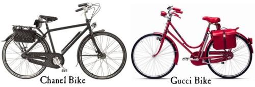 dois modelos luxuosos de bicicletas para mulheres, duas concepções de mundo diferentes.