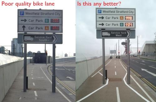 """ciclovia ruim posteriormente """"melhorada"""" em westfield stratford.  imagine um ciclsita trasnformado em gestor público tendo que defender isso perante seus colegas ciclistas."""