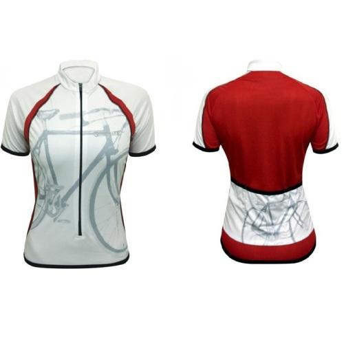 camisa de ciclismo, feminina, damatta, vermelha só nas costas, para aumentar visibilidade nas estradas.