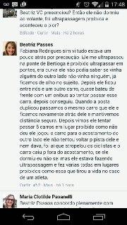 depoimento no Facebook de testemunha do atropelamento de Cláudio Clarindo.