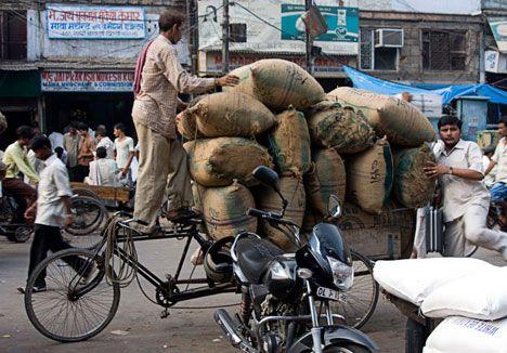 bicicleta de carga na índia.