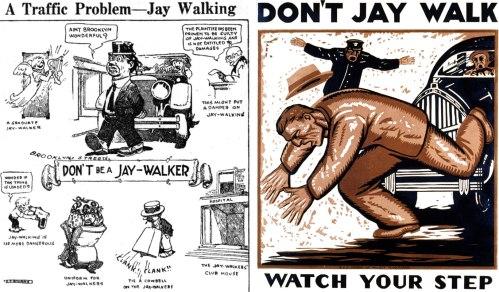 cartazes americanos criticando o andar nas ruas.